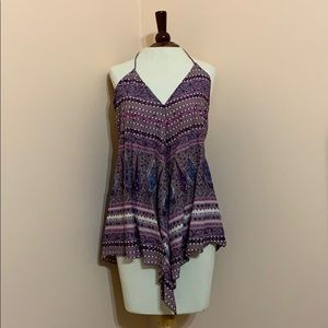 Grey, purple, navy, and white paisley/floral top